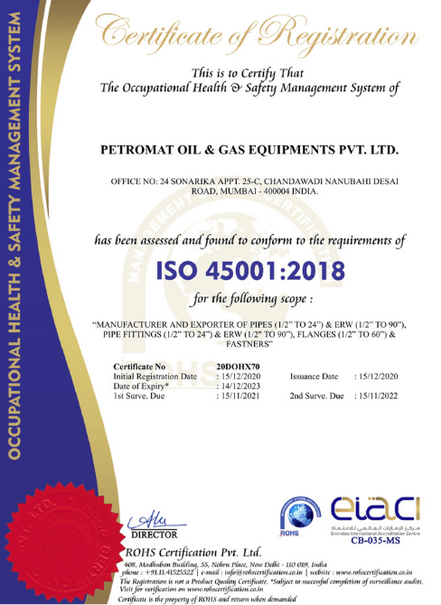 ISO 45001:2015 Certificate